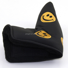 New Black Smile Face Golf Putter Covers PU leather + Black Velvet Lining + Hook-and-loop Closure Blade Putter Head Cover