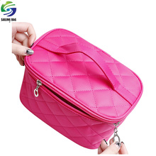 Wholesale custom quilted satin handled travel toiletry bag