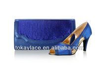 2013 new design royal blue italian lady crystal matching shoe and bag wholesale for wedding/party