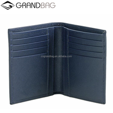hot sell classic slim 6 card holders bifold men saffiano leather wallet with gold sutd
