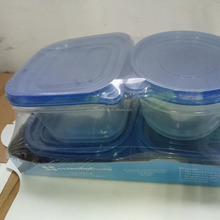 New Design Disposable Food Storage Container Sets 30806 green lid /clear body/ 3pk /snack pot/ 9oz/14g