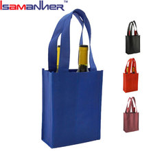 Quanzhou two wine bottle holder cheap non woven wine tote bag wholesale