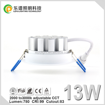 99CRI Sunset Dim 2000k to 3000k cob led downlight with reflector lens 13w 15w super warm for good sleeping
