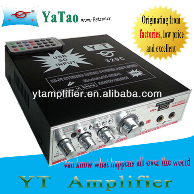 USB/SD car power soft amplifier YT-329C with remote control /plate reverb amplifier