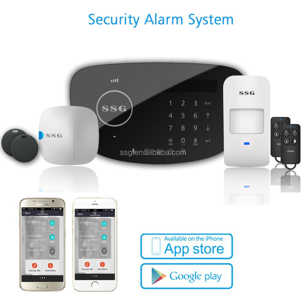 No monthly fee no contract self monitoring gsm alarm for Self security system
