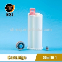 50ml 10:1 PBT Dental pe plastic bottle/cartridge for dual cartridge with mixing tip