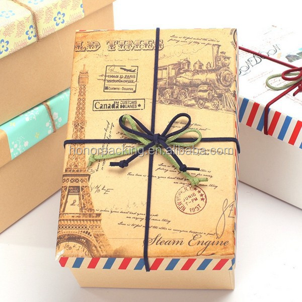 High Quality European style brown kraft paper gift box high-end packaging box wholesale