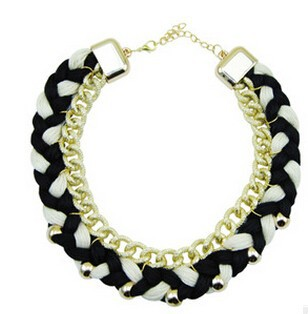 Good quality fancy knit rope necklace 2015 new design pretty girls necklaces