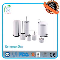 step bin/toilet brush/sapo dispenser/ tooth mug/--7pcs bathroom furniture set in shining white powder coating