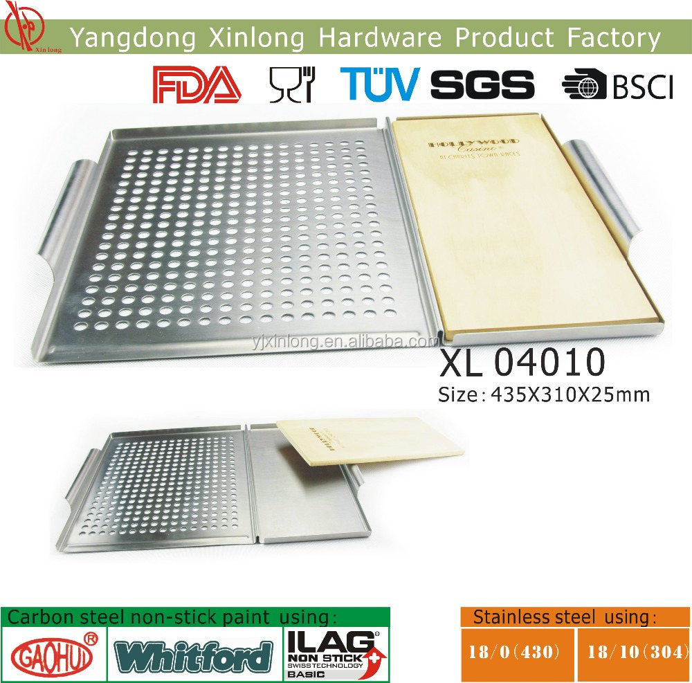 Stainless steel BBQ grill grid with plank