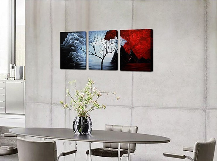 Modern Abstract Painting the Cloud Tree High Q. Wall Decor Landscape Paintings on Canvas 12x16inch 3pcs Ready to hang