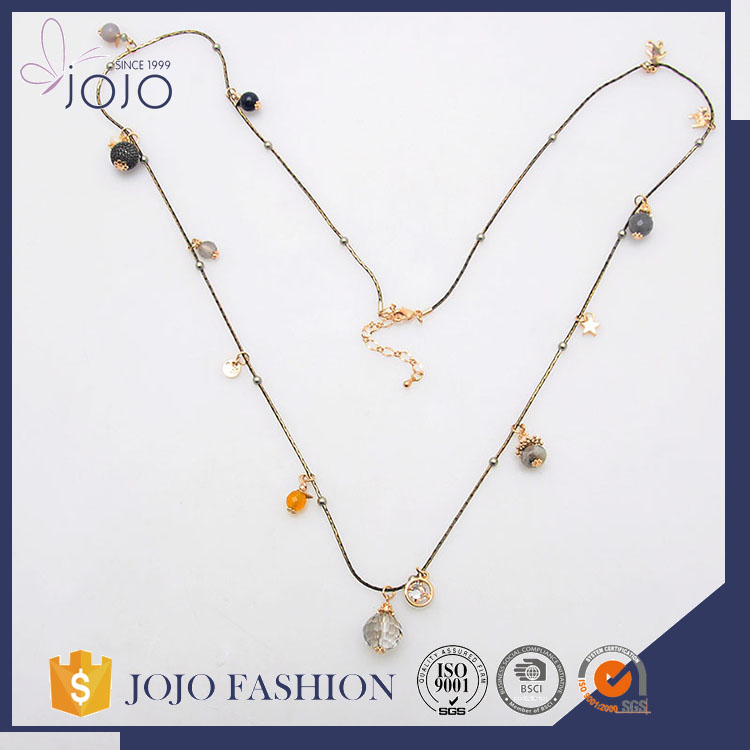 Hot selling wholesale eco-friendly multi nut shaped beads thin chain crystal pendant necklace