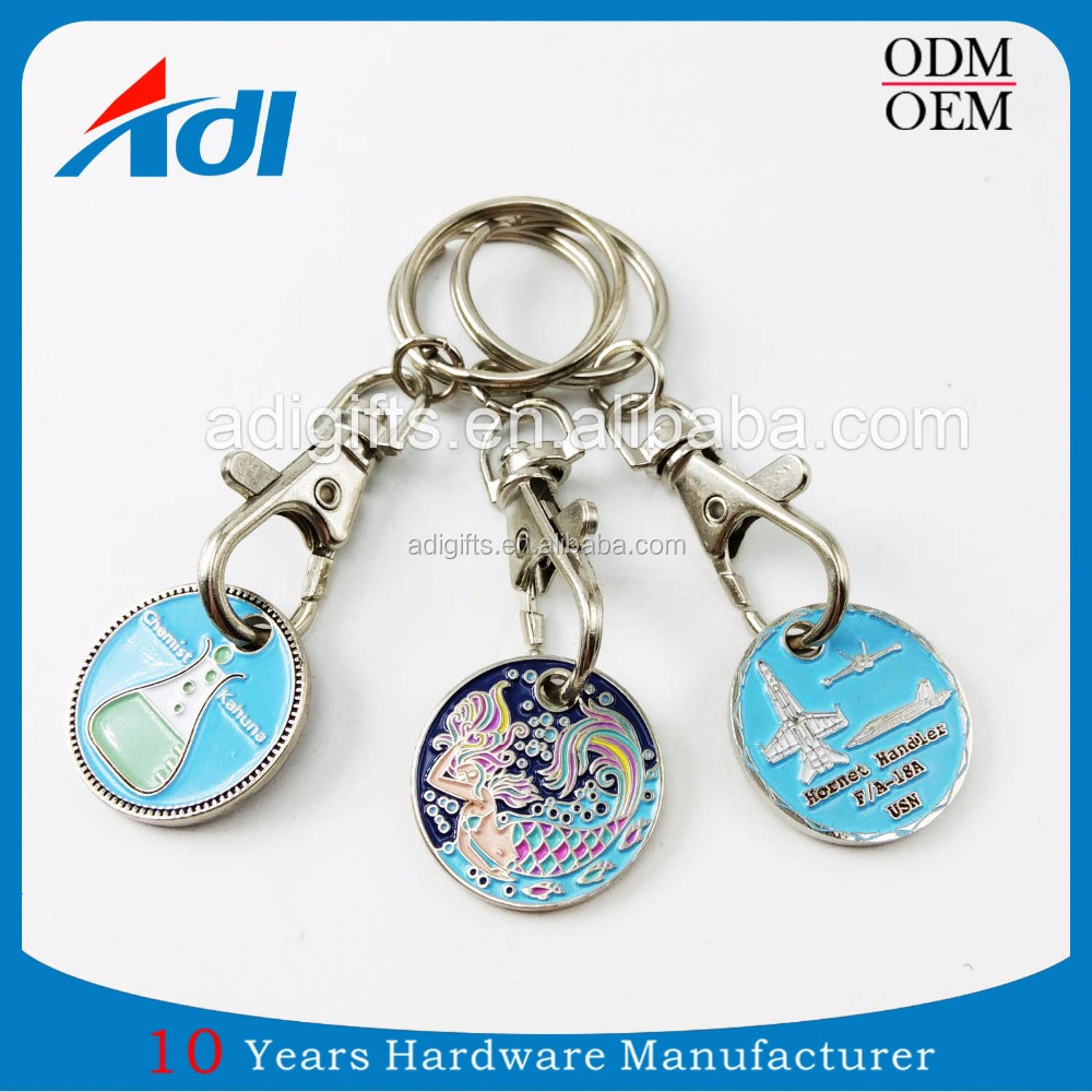 Customized zinc alloy trolley trolley coin keyring for supermarket trolley