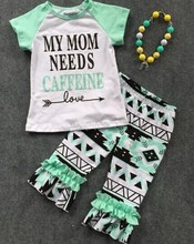 2016 new Spring arrival design baby girls short sleeves Aztec pant kids fashion outfits with matching accessories