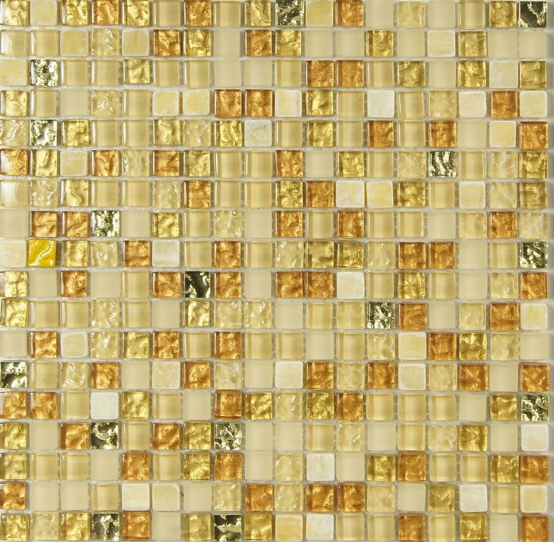 Yellow/Gold Glass and Onyx Stone Glass Mosaic Tile