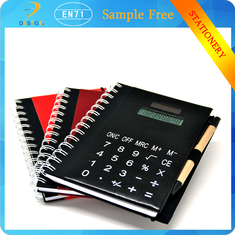 Cheap customer Bulk sprial PU Leather Notebook Printing For Wholesales with calculator &pen