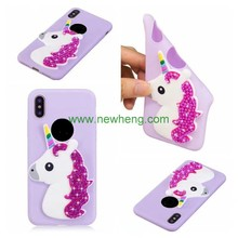 Bling diamond unicorn soft tpu phone case for iphone X