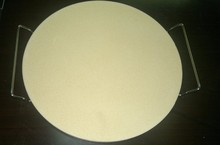 Round Cordierite Refractory Pizza Baking Stone with handle