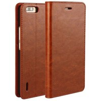 Wholesale Price Crazy Horse Texture Flip Genuine Leather Case Cover for Huawei Honor 6 Plus Case