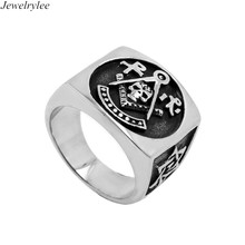 Silver Metal Custom Men's Masonic Rings Wholesale Mason Titanium Rings