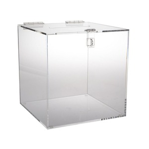 Clear Acrylic Ballot Box Cube with Hinged Lid