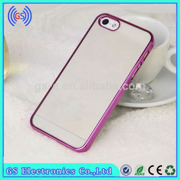 For iphone 5 case transparent PC hard case with colorful electroplated bumper