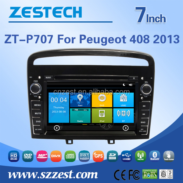 ZESTECH China Factory OEM ODM gps navigation for Peugeot 408 with Win CE 6.0 system GPS+DVD+BT+TV+3G+Phone