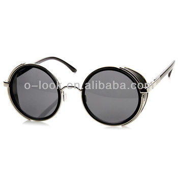Studio Cover Metal Frame Side Shield Round Sunglasses