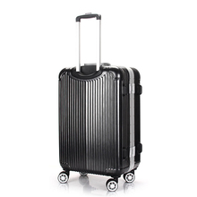 Trolley luggage/suitcase/ silver aluminum frame /rounded TSA lock luggage