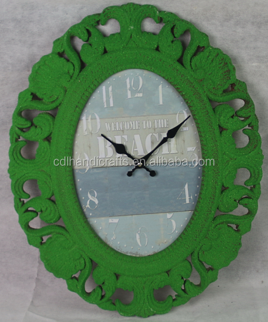 European style Archaize digital green wall clockC044