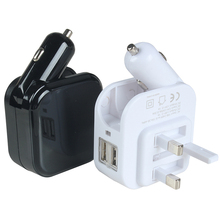 Wholesale new electric gift universal dual usb car charger wireless fast car phone charger 2 in 1 car and wall charger