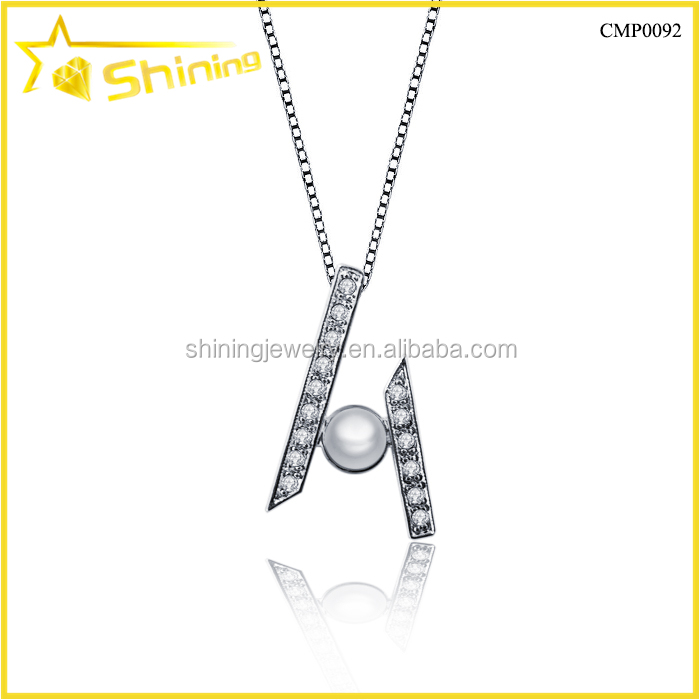 wholesale pure 925 sterling silver personalized pearl pendant designs