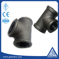 "3/4""galvanized/black color cast iron pipe fitting equal tee"