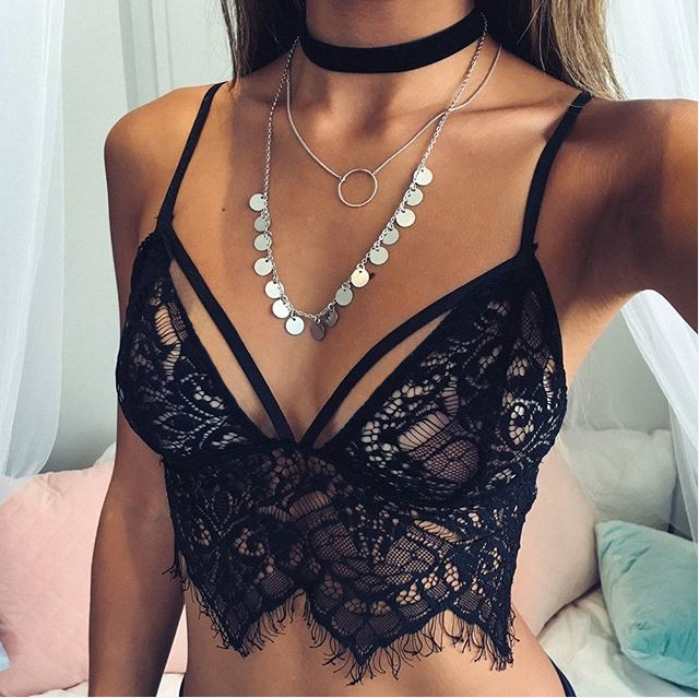 Bonvatt Lace Bra Top Wireless Cups Brassiere Fashion Eyelash Bralette Cute Crop Top bra Underwear Intimate Tops