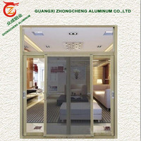 Aluminum frame double glass sliding heat-proof aluminum door with fly screen or louver
