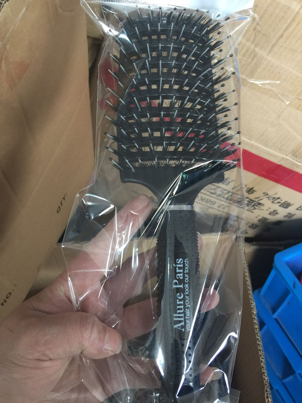 Boar Bristle Brush Best at Detangling Thick Hair Vented For Faster Drying - 100% Professional Natural Detangler bristles