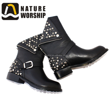 Design Your Own Shoes Women Boots Winter Snow Warm Fur Motorcycle Leather Working Boots