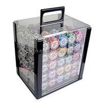 11.5g poker chips blank or with hot stamp and poker accessories and aluminum cosmetic case in one set 1000pcs