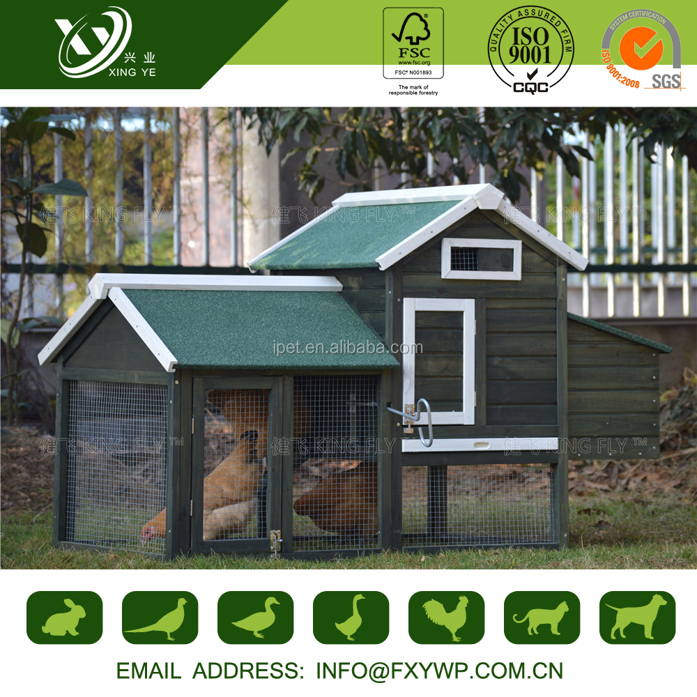 large outdoor wooden chicken run and coop