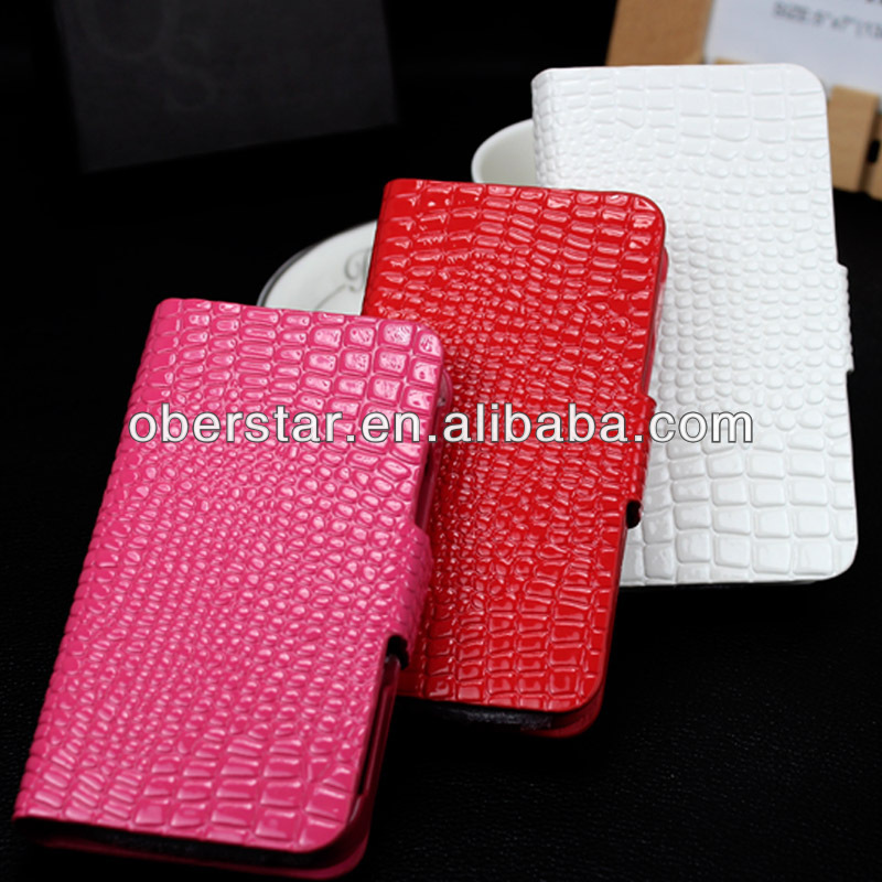 croco pattern phone case / croco case cover for iphone4 / flip leather cover case for iphone 4