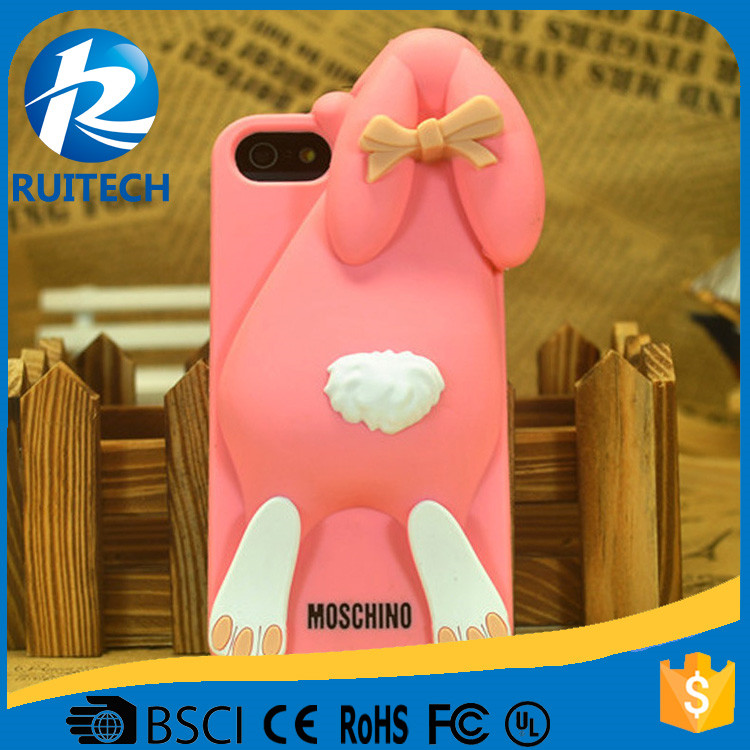 Cartoon 3D Cute Cover rabbit design Soft Silicone Back Cover Case for Iphone Smartphone