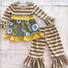 Directly sale excellent quality cream and brown stripe winter girl outfits