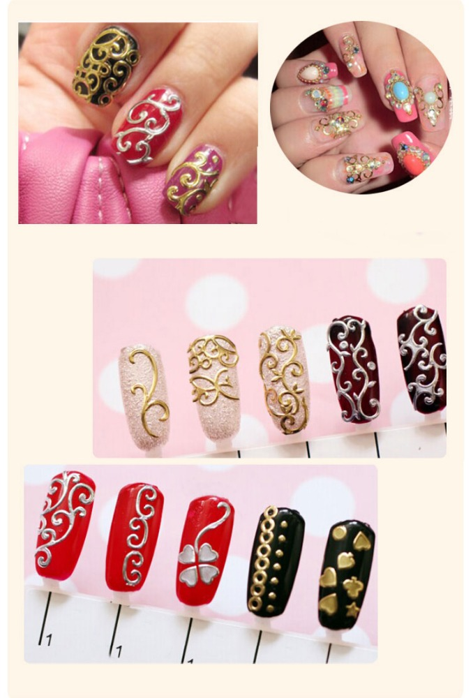 beautiful 108 designs silver 3D nail stickers for nail art #2358