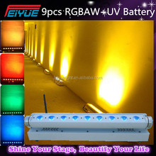 New Arrival Wedding Decoration Wireless Dmx Led Uplight 9*18W 6 in 1 Battery Led Moving Wash Bar