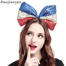 2018 Fabric Bowknot Headband World Cup Party Supplies Bow Headdress Patriotic Events 4th of July Independence day decoration