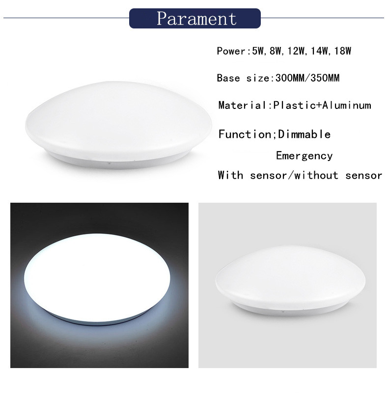 Motion PIR Sensor SMD2835 Microwave 12w Corridor LED Ceiling Light
