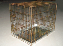 gold color folding metal dog crate made in china