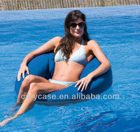 BLUE free Lounge Canvas Swimming Pool Float, supportive and comfy beanbags on water