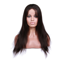 Factory wholesale silk base top 18 inch natural color straight Brazilian virgin hair full lace wig with strech lace