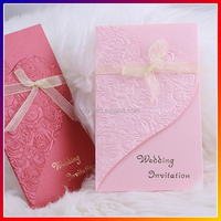 sell well laser cut luxury wedding invitation card with ribbon,free design